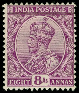 INDIA SG180, 8a deep mauve, M MINT. Cat £25.