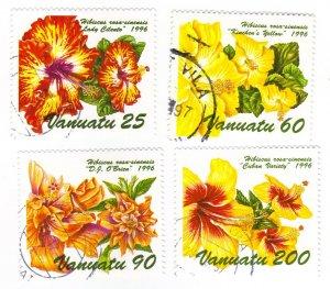 Vanuatu #689-92 used - hibiscus (a1388)