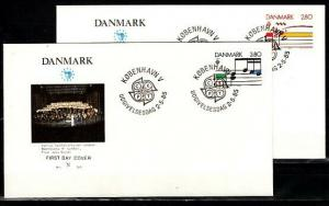 Denmark, Scott cat. 773-774. Europa Music Year issue. 2 First day covers. ^