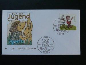 cartoon fiction character hedgehog children tales FDC 1999 Germany 84169