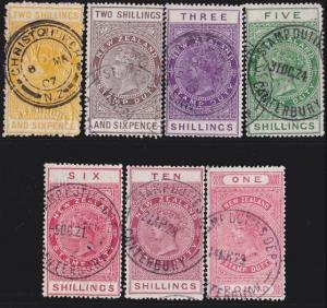NEW ZEALAND 1880 Stamp Duty 7 values 2/6 to £1 used.........................4739