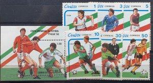 CUBA 1989 SC#3108-3113 WORLD CUP SOCCER ITALY 1990 Set x 6 + Souvenir Sheet MNH