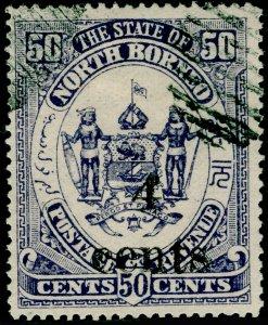 NORTH BORNEO SG153, 4c on 50c deep slate-purple, FINE USED. Cat £12.