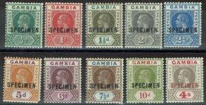 GAMBIA 1921 KGV SPECIMEN SET WMK MULTI SCRIPT CA