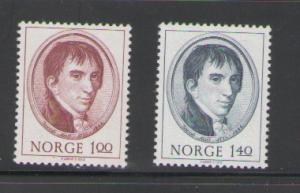 Norway Sc 621-2 1973 Jacob Aall stamps mint NH