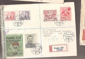 Czechoslovakia 1950 A/M Registered cover to Canada, customs sticker (bas)