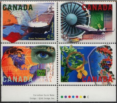 Canada USC #1598i Mint Imprint Block of Four VF-NH 1996 High Technology Industry