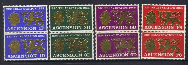 ASCENSION 1966 OPENING BBC RELAY STATION U/M SET OF 4 IN VERT PAIRS