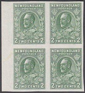 NEWFOUNDLAND 1932 GV 2c IMPERFORATE block of 4 fine MNH SG223a.............29234