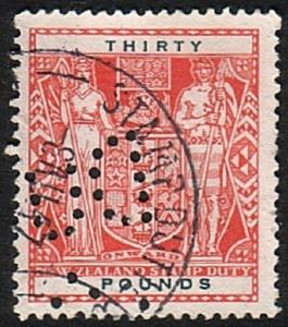 NEW ZEALAND ARMS STAMP DUTY £30 used.......................................17374