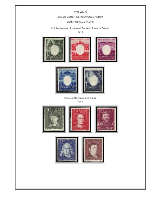 COLOR PRINTED OCCUPIED POLAND 1915-1944  STAMP ALBUM PAGES (15 illust. pages)