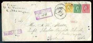 U.S.Washington-Franklins on Registered 1917 Wakeman, Ohio Cover