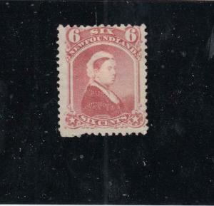 NEWFOUNDLAND  # 35  F-MH 6cts 1870 QUEEN VICTORIA / DULL ROSE EST CAT VALUE $15