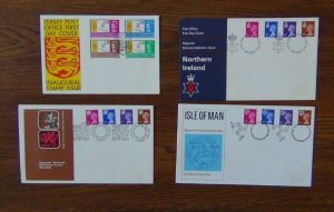 GB Regional Issues 1971 Definitive Issue Wales Northern Ireland IOM Jersey Post