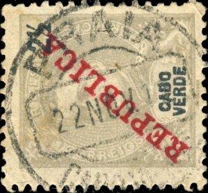 CAP VERT / CABO VERDE - 1912  PRAIA  cds on Mi.86 2-1/2 Reis grey REPUBLICA