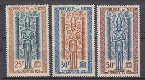 J28776 1964 niger set mnh #c38-40 unesco
