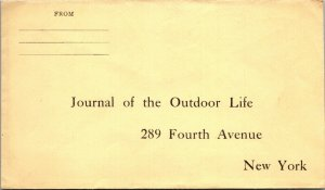 Journal of Outdoor Life NY unused reply envelope c1918