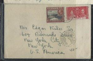 CYPRUS COVER (PP1804B)  1937 KGV 1D+KGVI CORONATIN1 1/2D SLOGAN CAN TO USA