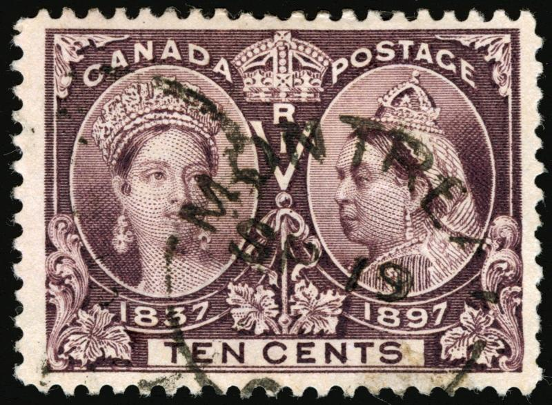 Canada #57 10c Brown Violet 1897 Jubilee Issue VF Used