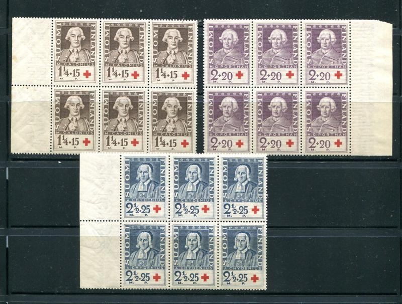 Finland  Set in blocks of 6 Mint NH