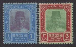 TRENGGANU MALAYA 1921 Sultan $1 & $3