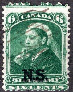 van Dam NSB7 - Nova Scotia Bill Stamp - 6c - Used, mis-perf error