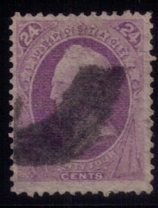 US Sc 153 Used 24c purple tiny closed of tear top right F-VF