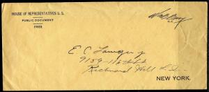 UNITED STATES  '39 HOUSE OF REPRESENATIVE WM BARRY FREE FRANK NEUTRALITY LETTER