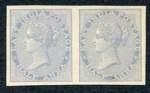 India SG55 HALF ANNA In pale blue Imperf PROOF on thin paper