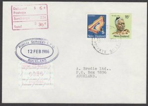 NEW ZEALAND 1986 30c Frama used as postage due on cover - first day cancel..Q460