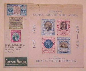 GUATEMALA  FDC #RA7,C92 & 2 UNLISTED EXPO STAMPS 1939 REGISTERED 2 US B/S