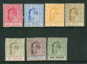 BAHAMAS-1902-7 A lightly mounted mint set to £1 Sg 62-70