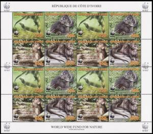 Ivory Coast WWF Speckle-throated Otter Sheetlet of 4 sets reprint MI#1353-1356A