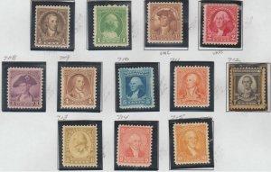 U.S. Scott #704-715 Washington Stamps - Mint NH/H Set