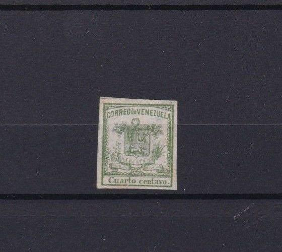 VENEZUELA 1862 IMPERF STAMP ¼ CENTAVO MOUNTED MINT  CAT £28  REF 6293