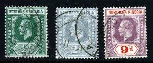 NORTHERN NIGERIA KG V 1912 Wmk Mult Crown CA Group SG 40, SG 42 & SG 47 VFU