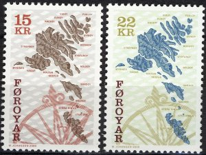 Faroe Islands 2000 #377-8 MNH. Maps