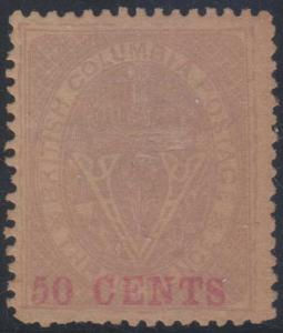 CANADA BRITISH COLUMBIA 1867-69 Sc 12 KEY VALUE FORGERY PERF 14 MLH (CV$875)