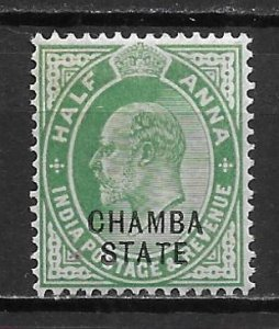 India Chamba 30 1/2a Edward VII single Unused Hinged (z3) Writing on back