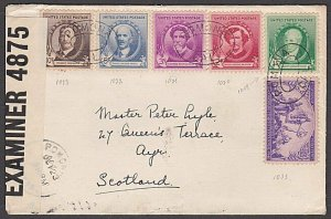 USA 1941 censor cover to Scotland - Famous Americans franking...............B430