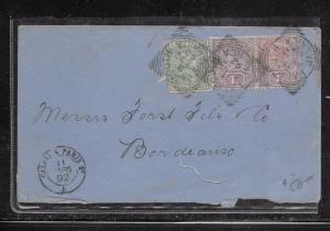 JAMAICA (PP1301B) 1892 QV 1D PR+ 1/2D  COVER FALMOUTH  TO FRANCE