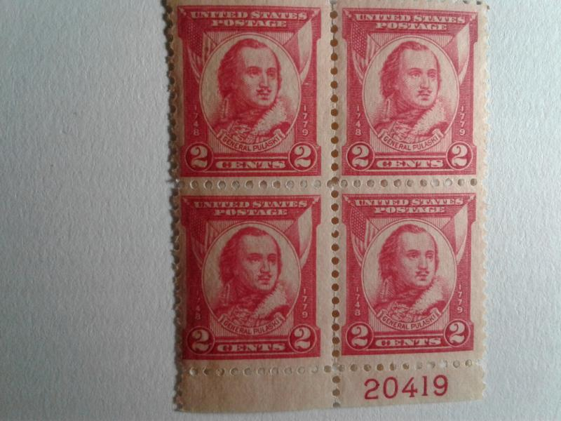 SCOTT # 690 PULASKI BLOCK OF 4 WITH PLATE NUMBER BEAUTIFUL GEM  !!  1931