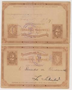 EL SALVADOR 1901 PS DOUBLE CARD H&G 7 USED LA LIBERTAD-EL SALVADOR & RETURN RARE
