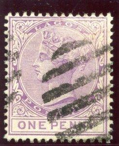 Lagos 1882 QV 1d lilac-mauve very fine used. SG 17. Sc 14.
