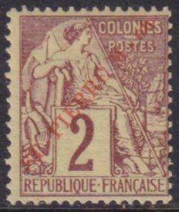 St. Pierre 1891 SC 21 Var MLH Red Overprint RARE