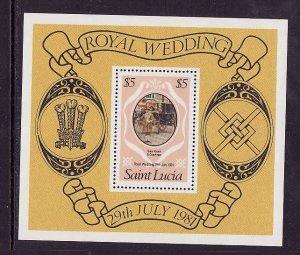 St Lucia-Sc#546-unused NH sheet-Royal Wedding-Princess Diana-1981-