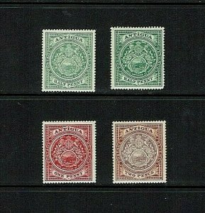 Antigua: 1908, Colony Badge, selection of lower values, Mint hinged