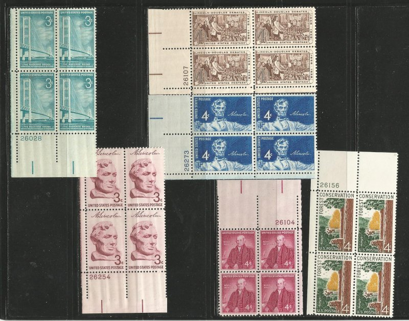 USA Stamps #1109,1114,1115,1116,1121,1122 Plate Blocks of 4