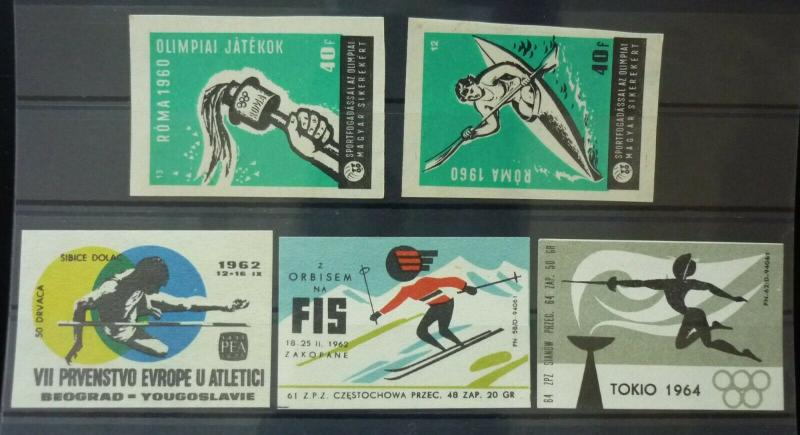 Match Box Labels ! sport olympic games roma 1960 torch skiing GN37