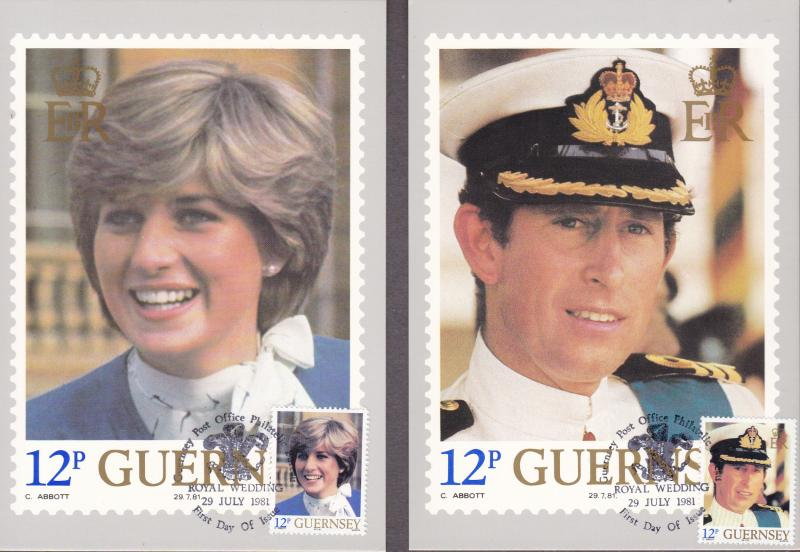 Guernsey 1981 Princess Diana Royal Wedding set (7) Maximum Cards VF